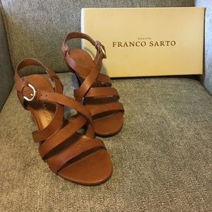 Franco Sarto 👡 Strappy Brown Heels